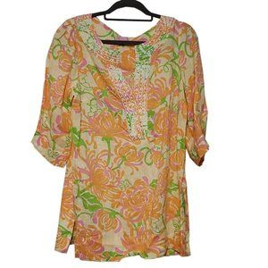 Lilly Pulitzer Linen 3/4 Sleeve top Beads Top